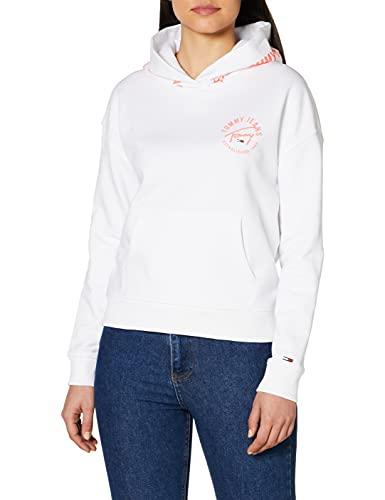 Tommy Jeans Sudadera con capucha para mujer, color blanco (10) L