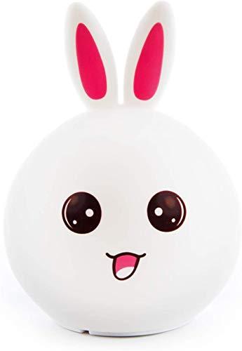 Lámpara infantil recargable para mesilla de noche con forma de conejo. Luz LED quitamiedos nocturna para habitación de niños y bebés. Lamparilla de silicona y portátil con luces de colores