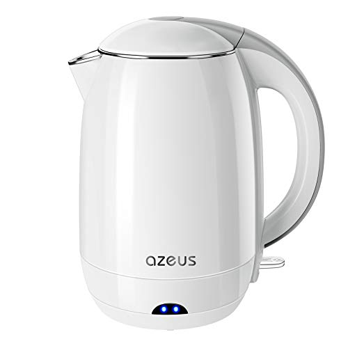 AZEUS 1500W Electric Kettle, BPA Free Double Wall Water Kettle with 304 Stainless Steel, 1.8L Large Capacity Cordless Coffee Pot & Tea Kettle, Auto Shut-Off and Boil-Dry Protection, White