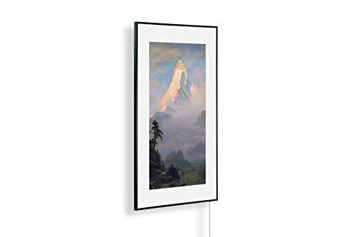 Könighaus Infrarotheizung – Kunstwerke/Gemälde mit Passepartout – TÜV/GS - 1000 Watt - Schwarzer Rahmen (38. Albert Bierstadt_ Sunrise on the Matterhorn)