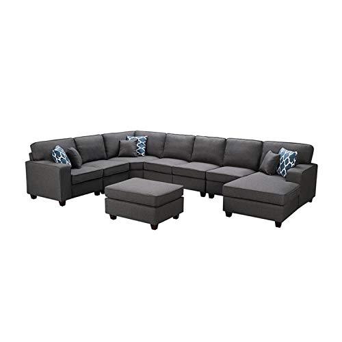 Lilola Home Irma Dark Gray Linen 8Pc Modular Sectional Sofa Chaise and Ottoman