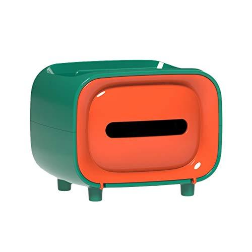 Kosmetiktücherbox Taschentuchspender Taschentücher, kleine Aufbewahrungsbox für Papiertücher aus PP, Taschentuchbox mit Ablage und Handyständer Funktion für Schmuck und Schminke, (Grün)