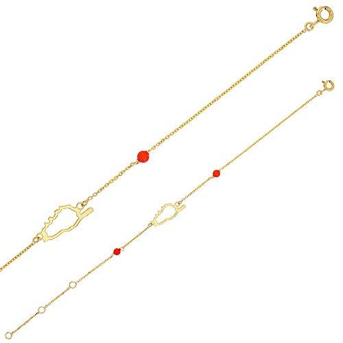 Jouailla - Pulsera Córcega Oro 375/1000 con perlas sintéticas de color coral (398062)