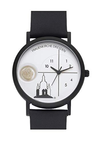 23. Edition Dresdner Frauenkirchen-Uhr I Quarzwerk I Echt Lederarmband I Damen Herren Armbanduhr I Unisex I Analog I Wasserdicht I Schwarz I Weiß