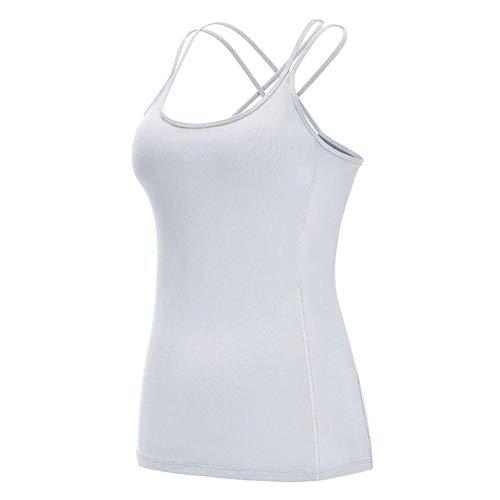 Sport BH Frauen Sport Shirt Jersey Fitness BH Top Vertuschung Workout T-Shirts Fitnessstudio Kleidung Yoga Weste Sportbekleidung Laufanzug Singlet-White_M