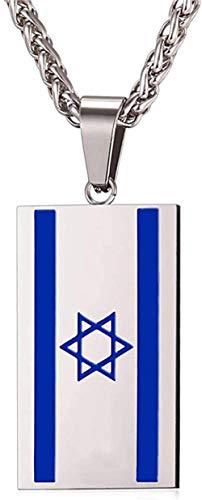 LKLFC Collar Mujer Collar Hombre Bandera de Israel Collares y Colgantes Collar Acero Inoxidable Símbolo de Israel Collar Joyería judía para Hombres Mujeres Collar Colgante Niñas Niños Regalo