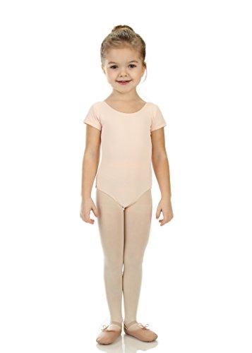 elowel   Mädchen   Sport-Ballet-Tanztrikot   Gymnastikanzug, Leotard   Kurzarm - Beinausschnitt G (Gym)   Elegant & Bequem   Größe: 8-10 Jahre   Farbe: Hautfarbe-Rosa