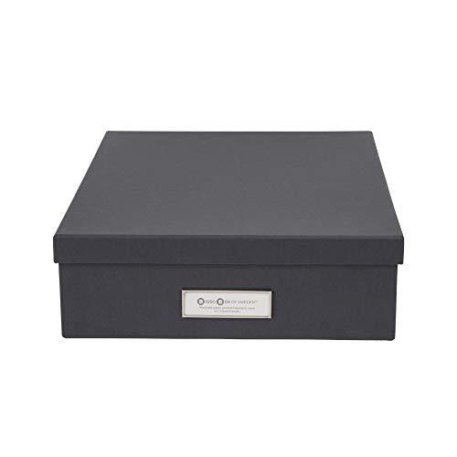 Bigso Box of Sweden Dokumentenbox für A4 Papier, Broschüren usw. – Schreibtischablage mit Deckel und Griff – Aufbewahrungsbox aus Faserplatte und Papier – dunkelgrau