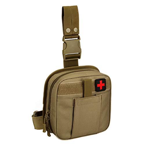 Kikier Outdoor taktische Beintasche, tragbares Erste-Hilfe-Set Outdoor medizinische Tasche Outdoor Klettern Wandern, SO06480387_BN-1254-1213519041, braun, 20 * 21 * 7cm