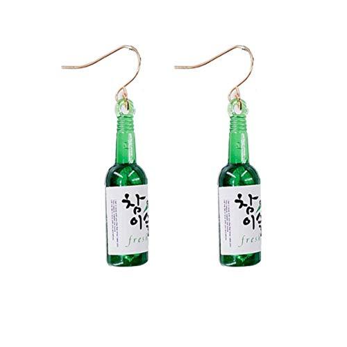Morninganswer Nueva Personalidad Edición Coreana Pendientes Colgantes de Botella Pop de Moda Simple Lady Ins Temperamento Lindo Pendientes Simples Verde