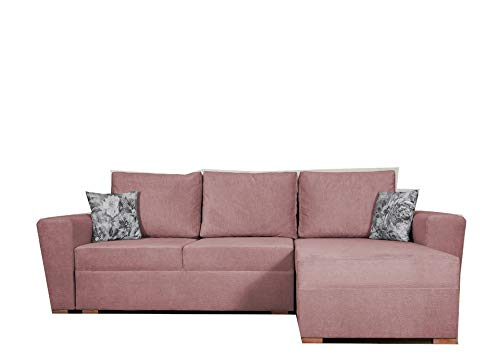 PM Ecksofa Schlaffunktion Bettfunktion Couch L-Form Polstergarnitur Wohnlandschaft Polstersofa mit Ottomane Couchgranitur - Vegas (Rosa, Ecksofa Rechts)