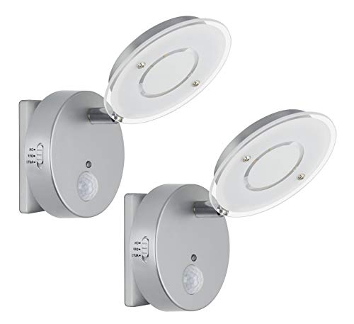 Trango 2 paquetes Sensor LED luz nocturna TG2634-024 en plata con función automática directa 230V con sensor de movimiento I luz de seguridad I lámpara de enchufe I lámpara de pared luz de orientación