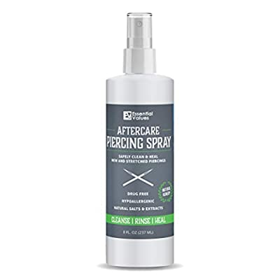Essential Values Piercing Aftercare Spray (8 fl oz), Made from the Finest Salts & Aloe Vera - Natural & Gentle on Contact | Disinfect & Heal Piercing Wounds - Made in USA