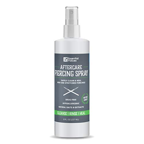 Essential Values Piercing Aftercare Spray (8 OZ Per Bottle) - Natural & Gentle on Contact | Heals Piercing Wounds Quickly - Made in USA