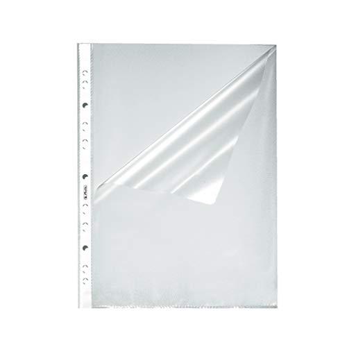 Herlitz 10840098 Prospekthülle A4 genarbt, 100er Packung, oben und seitlich offen