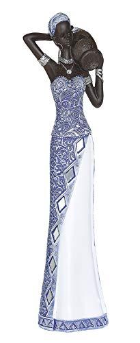 Dreamlight Moderne Skulptur Dekofigur Frau Afrikanerin blau/weiß/braun Höhe 39 cm