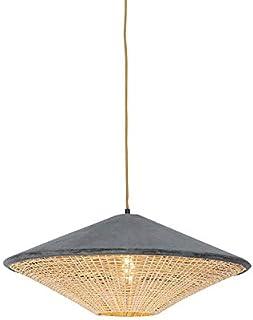 QAZQA Rústico Lámpara colgante rústica terciopelo gris mimbre 60cm - FRILLS CAN Ratán/Acero/Textil Alargada/Redonda Adecuado para LED Max. 1 x 25 Watt