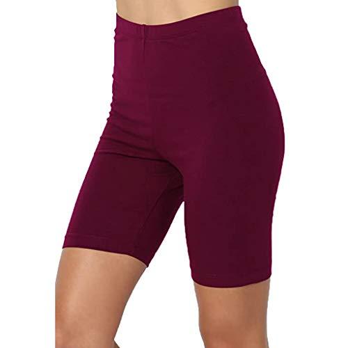 iHENGH Sport Yoga Leggings Solide Mi-Cuisse Stretch Cotton Span Taille Haute Activité à Court