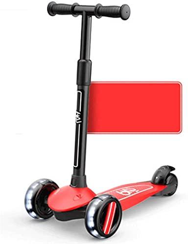 RSTJ Scooter para niños Double Taxi Mode para Edades 3-14 con Ruedas de Flash, 4 Altura Ajustable, niños pequeños Extra LED PU Ruedas (Color : Yellow)