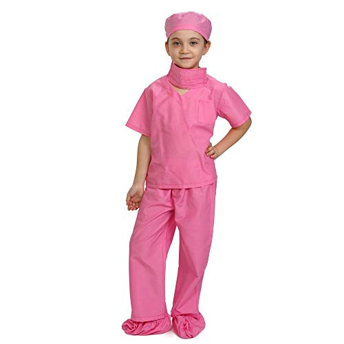 Dress Up America- Children Kids Scrub's Rosa médico Scrubs Disfraz niños Pretend del Doctor Scrub Play Outfit, Color, 8-10 años (79 cm Cintura, 121 cm Altura) (874P-M)
