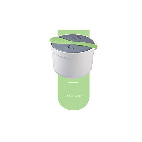 GreenCC 2L Mikrowellen-Reiskocher, PP-Multifunktions-Reiskocher in Lebensmittelqualität, zweischichtiger Dampftopf für das Heimrestaurant, grün