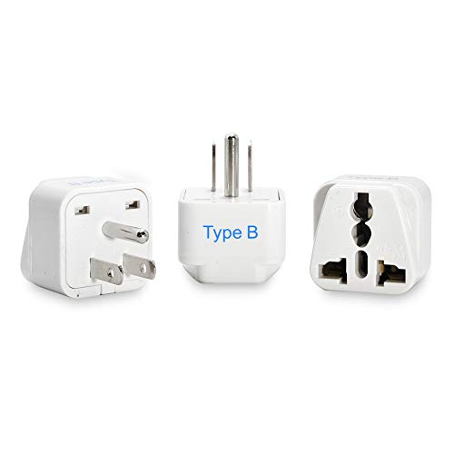 Ceptics European/India to US plug adapter - Flat outlet UK to US, Europe Round Australian to USA 3 Prong - 220 to 110 Travel Adaptor, European to American (Type B) - 3 Pack