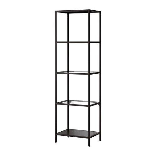 IKEA VITTSJO -Regal schwarz-braun Glas - 51x175 cm