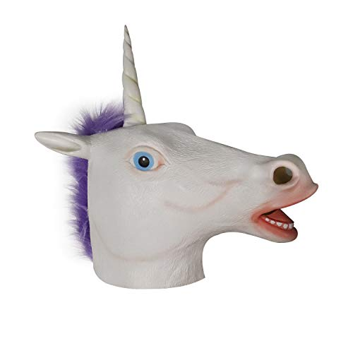 molezu White Magical Horse Mask, Novelty Halloween Costume Party Unicorn Latex Animal Head Mask