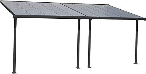 Palram Pergola Patio Cover Feria - Robust Structure for Year-round Use (3X6.10, Grey)