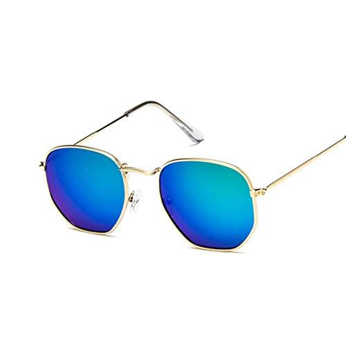 UKKD Gafas De Sol Mujeres Gafas De Sol Espejo Retro Gafas De Sol para Mujer Gafas De Sol Vintage De Lujo Femenino Negro-Gold Green