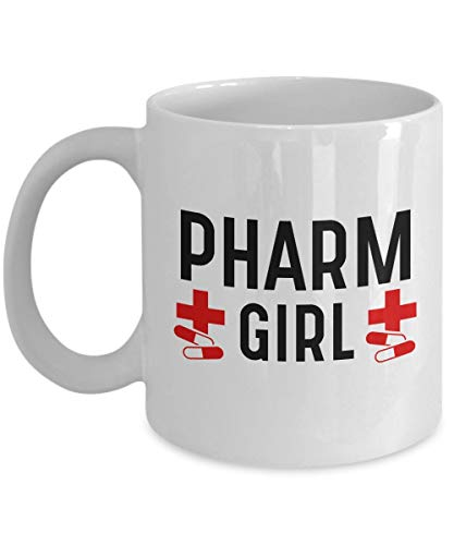 N\A Regalos para farmacéuticos: 'Pharm Girl' Farmacia Chica Hermana Mamá Novia Esposa - Traficante de Drogas legales - Pastillas medicinales - Mejor Farmacia Taza Blanca, Taza de café de cerámica