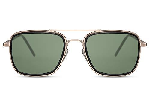 Cheapass Gafas de Sol Doradas Metal Piloto con Solapas Laterales y Lentes Verdes Protección UV400 para Hombres