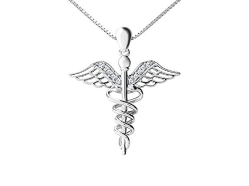 BrightEarth - Hermes – Collar para mujer de plata 925 – Colgante Caduceo con cristales cúbicos – Elegante estuche – Original idea de regalo,