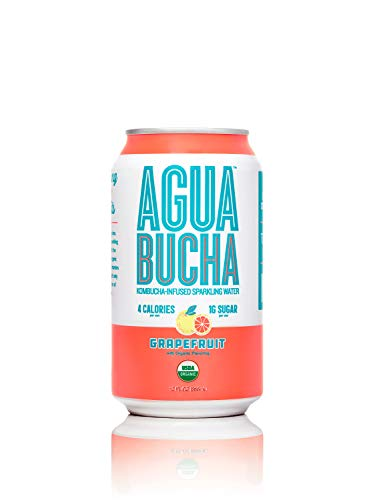 Agua Bucha | Kombucha – Infused Sparkling Water | Grapefruit | Light & Delicious | Rich with Vitamins and Only 4 Calories | USDA Organic | No Artificial Ingredients | 12 fl Oz (12 pack)