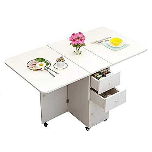 HMCL Mesa de comedor plegable de 1,2 m, mesa de comedor con almacenamiento, mesa plegable de cocina para apartamentos pequeños, mesa multiusos para manualidades, corte, costura, color blanco