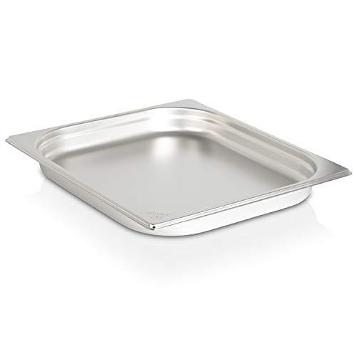 jokobela GN-Behälter 2/3 40 mm aus Premium-Edelstahl (mit 3 L Fassungsvermögen) Maße: 353 x 325 x 40 mm - Gastronormbehälter ideal für Garen mit Chafing Dish oder Bain Marie (0,6 mm dick)