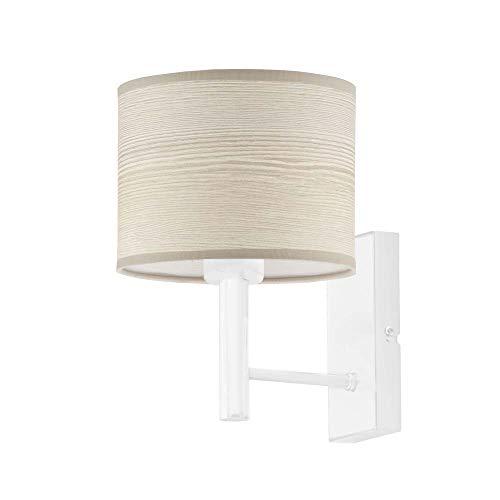Lámpara de pared TEGU ECO con pantalla de roble blanqueado, marco blanco