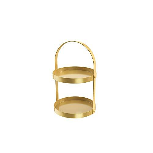 Metalen dubbele laag cosmetische plank, lengte 9,8 * hoogte 16,9 inch cosmetische plank, geschikt voor badkamer, dressoir tafel, huis, dressoir tafel, enz. Lichtgeel