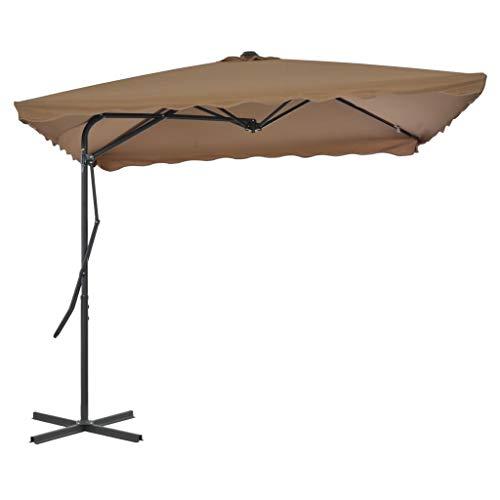 vidaXL Parasol d'Extérieur Poteau Acier 250x250 cm Taupe Jardin Terrasse Patio