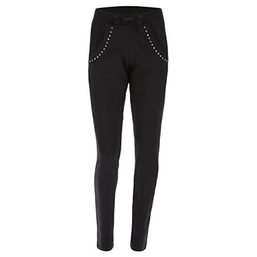 FREDDY Pantalon Long pour Femme avec Mini-Clous - Noir - Large