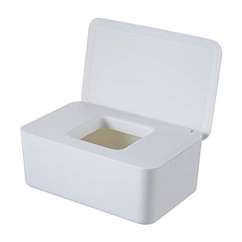 Dispensador de toallitas húmedas, caja dispensadora con junta de la tapa, recipiente para pañuelos, soporte para cajas de servilletas, para escritorio Home (color blanco)