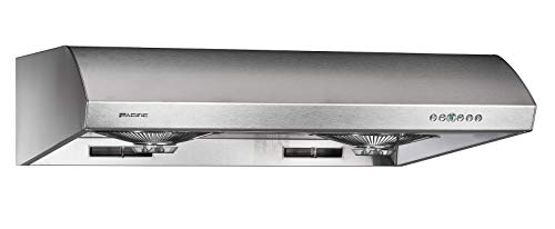 Pacific PW23BS Kitchen Exhaust – Premium Stainless Steel Kitchen Range - Made in Taiwan – 800 CFM Range Hood Under Cabinet with 6 Speeds - Direct Suction on Front Burners - Dual Level Led Strip
