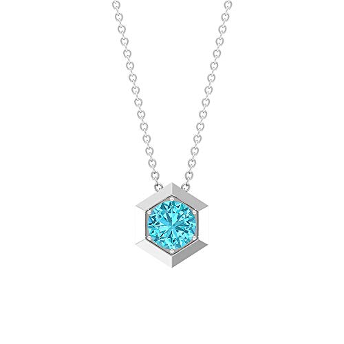 Custom 1.05 CT Solitaire Prong Set Certified Blue Topaz Swiss Pendant, December Birthstone Anniversary Necklace, Gold Engraved Hexagon Topaz Pendants,18K Yellow Gold
