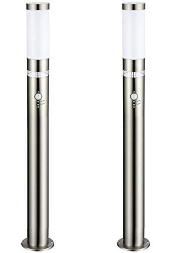 2x LED-Edelstahl-Außen-Steh-Wege-Leuchte-Lampe LISA 3, H: 100 cm, D: 7,6 cm, Kunststoffglas, Bewegungsmelder, Hauptlicht E27 max. 40W, Grundlichtring 12 fest eingebaute LEDs, Dämmerungssensor, IP44