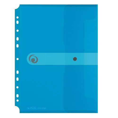 Herlitz 11292943 Dokumententasche A4 zum Abheften, PP-Folie, 6-er Packung, transparent blau