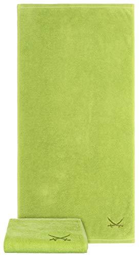 Sansibar - Set di 2 asciugamani 50 x 100 cm, 100% cotone, con logo ricamato, colore: Verde
