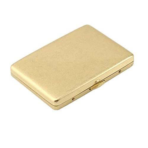 Caso de cigarrillos 20 palos, Bellas caso de cigarrillos, portable simple retro caso de cigarrillos creativo de cobre retro, es el for los fumadores, Tamaño 8.7 * 6.0 * 1,3 cm, Oro, anti-presión