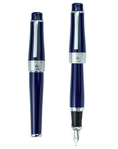 Pluma estilográfica Duke, plumín fino, punta media, cargador negro o azul. Cuerpo en color azul, negro o morado, color Azul oscuro, punta doblada