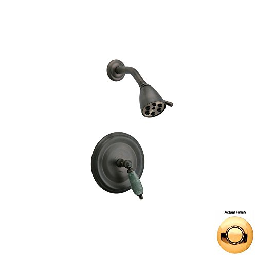 Best Buy! Phylrich PB3158F_25D - Carrara Pressure Balance Shower Set, Green Marble Lever Handles