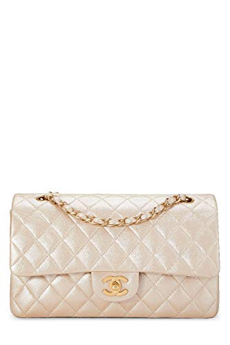 CHANEL Metallic Cream Quilted Leather Classic Flap Medium ((Renewed)